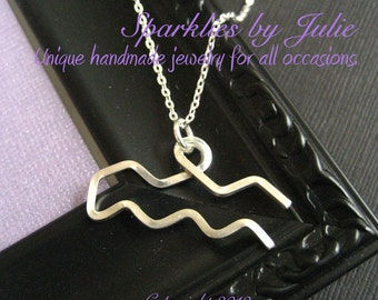 Aquarius Necklace  - Zodiac necklace, hand formed, sterling silver Astrological Symbol pendant