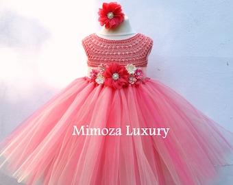 Coral Peach Flower girl dress, coral tutu dress, bridesmaid dress, princess dress, crochet top tulle dress, hand knit tutu dress, peach