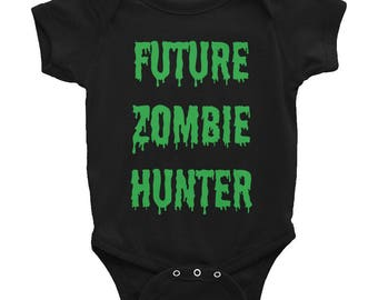 Lime Green Future Zombie Hunter Baby Onesie Infant Bodysuit