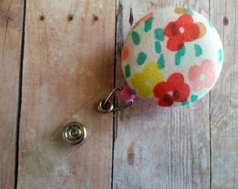 CLEARANCE- Floral Print Badge Clip, Red, Yellow, Green, Coral Floral Print Cotton, Retractable Badge Reel ID Holder, 4 Badge Reel Styles