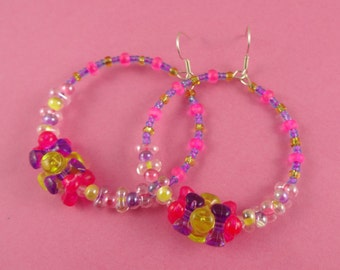 Pink Yellow and Purple Beaded Hoop Earrings - circle earrings, tri beads, cute and kitsch, candy raver, Harajuku Decora, colourful earrings