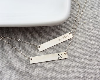 Sterling Silver Bar Necklace, Initial Personalized Jewelry, Name plate Necklace, Celebrity Inspired Jewelry, Christmas Gift for Her