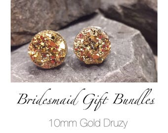 Bridesmaid Druzy Earrings (Gold) - 10mm