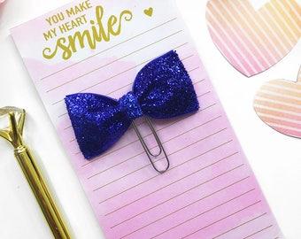 Blue Glitter Planner Clip / Planner Bow Clip / Blue Glitter Bow Paper Clip