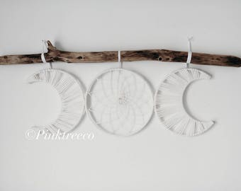 Moon Phase Dreamcatcher, Bohemian Wall Hanging, Home Decor, Dreamcatchers, Boho Wedding Decor, Dream Catcher