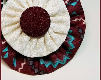 Yo-Yo Western Style Hair Bow / YoYo Flower / Clip / Yo Yo Fabric & Button