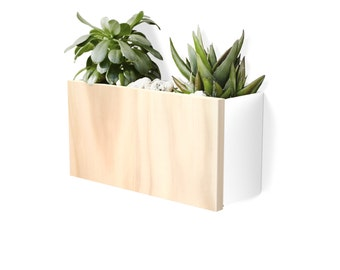 Modern Wall Planter - White Powdercoated Aluminium Body, Stainless Steel Hardware + Timber Front.