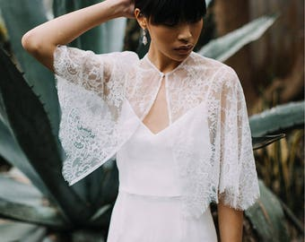 Bridal Lace Cape | Bridal Capelet | Bridal Cape | Wedding Capelet | Bridal Separates | Bridal Lace Cover Up | Wedding Cape [Thaleia Cape]