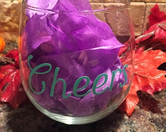 Stemless Wine Glass - Cheers