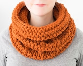 READY TO SHIP - Chunky Knit Cowl, Hand Knit Scarf, Wool Cowl, Chunky Neckwarmer, Orange Knit Cowl, Gifts for Her, Winter Accessories