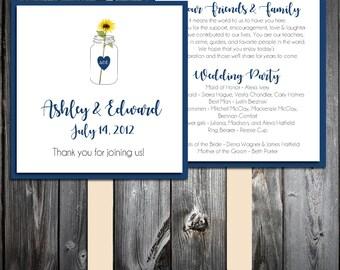 Mason Jar with Sunflower Program Fans Kit -  Printing Included. Wedding ceremony programs