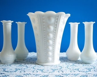 Milk Glass Vases - White Milk Glass Vases - Zipper and Jewel Vase - Wedding Milk Glass - Wedding Vases - Large Milk Glass Vase - Milk Glass