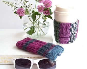 Set of 2. Purple, Dark Blue, Green and White Glasses Case and Coffee Cup Cozy. Wonderful Gift For You