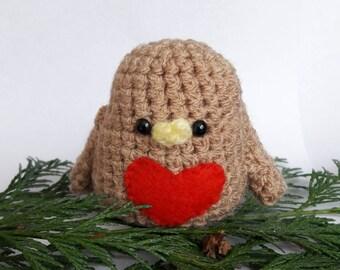 Robin Red Breast - Crochet Amigurumi Bird - Handmade Christmas Tree Decoration - Xmas Mantle Decoration MADE TO ORDER