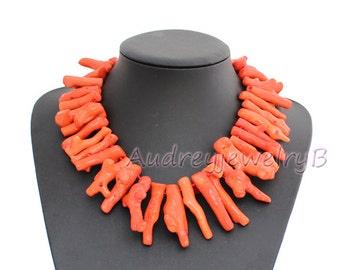 Orange Coral Branch Beaded Necklace, Irregular Branch Coral necklace Statement Necklace Sterling Coral Branch Beaded Bib Necklace