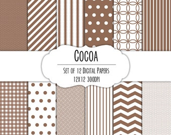 Cocoa Brown Digital Scrapbook Paper 12x12 Pack - Set of 12 - Polka Dots, Chevron, Gingham - Instant Download - Item# 8067