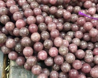 Lepidolite Beads, 8mm Round Beads, Purple Beads, Polished Beads,Semi Precious, Pink Beads, Gemstone Beads, Mala Beads Supply ,