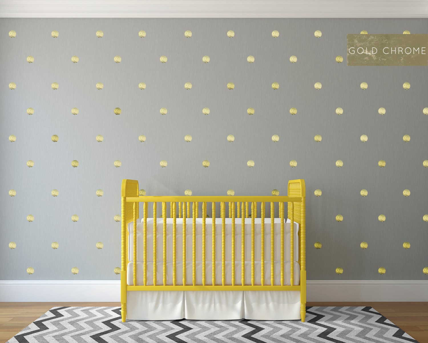 50 3-inch Gold Polka Dot Pattern Chrome Gold Foil Wall Decal