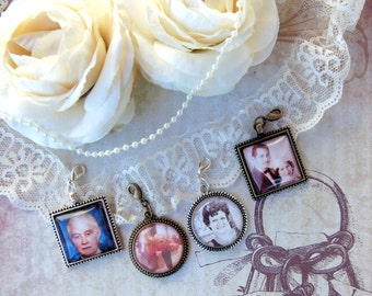 Wedding Photo Charm Bridal Bouquet Photo Charm Boutonnière Photo Charm for Wedding Memory Option for Matching Gift Tin and Necklace Chain
