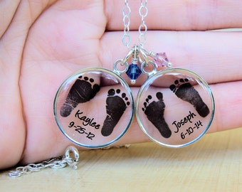 Baby Footprint Necklace - Mother's Necklace - Baby Footprints - Custom Mom Necklace - Mother's Day - Infant Loss - footprint jewelry