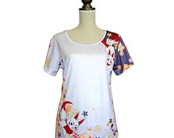 tshirt, floral,  T-shirt, Kawaii, Kimono, colorfull, flower, kitsune, fox, full graphic, vivid color