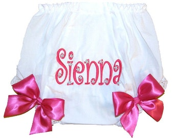 Personalized Baby Girl Diaper Cover, Bloomers Hot Pink & Silver Stars Design