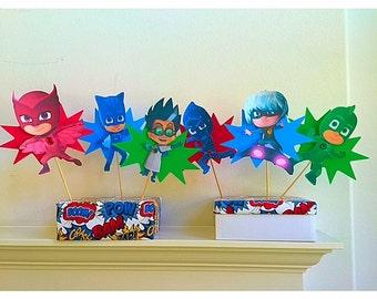 6 Pj Masks Characters Centerpiece, Pj Masks Villains, Pj MasksCandy Station, Pj Masks Birthday Party, Pj Masks Decorations,