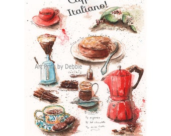 Italian Coffee Theme, Coffee Kitchen Decor, Caffe Italiano, Red Kitchen Decor Ideas, Housewarming Gift For Coffee Lover, Red Kitchen Art