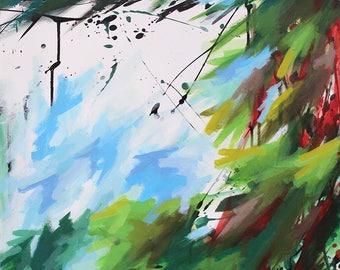 Peinture abstraite à l'acrylique, Paysage abstrait, Tableau contemporain unique, oeuvre d'art originale