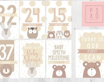 Beautiful Gender Neutral Animal Theme Pregnancy Milestone Cards, Baby Shower Gift, Mum To Be Gift, Mom To Be Gift, New Baby Gift