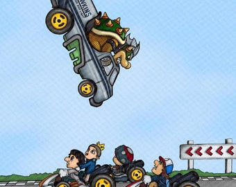 Super Mario Brothers v Stranger Things Mashup Parody - Print Poster Canvas - Gift Mario Kart Bros Stranger Things Will Eleven Hawkins Heat