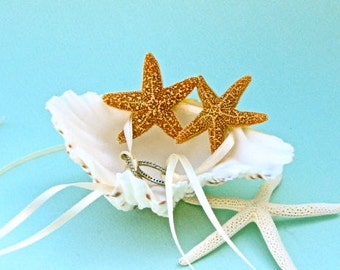 Beach Wedding Ring Bearer Shell with Natural Starfish - Also available with Gold Starfish - Beach Ring Bearer Shell, Coastal Wedding