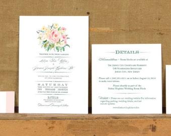 Rustic Soft Rose Poster Wedding Invitations,Rustic Floral Wedding Invites,Pastel Floral Wedding Invitation,Pink Rose Floral Wedding Invites