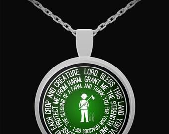 Farmer's Prayer Necklace, Farmer Jewelry, Farmer Gift, Farmer Necklace, Farmer Present, Gifts For Farmers, Farm Necklace, Silver Pendant