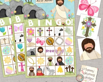 Easter Bible Bingo, Religious Easter Printable, Sunday School Game, Kids Easter Party favor, Jesus Holy Week preschool classroom activity