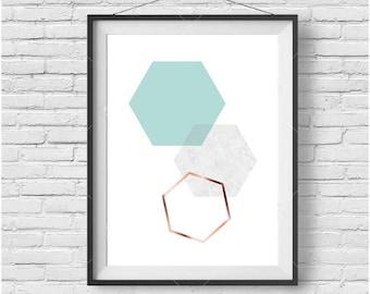 Mint Print Mint Wall Art Turquoise Poster Turquoise Print Scandinavian Print Geometric Print Geometric Art Hexagon Print Honeycomb Print
