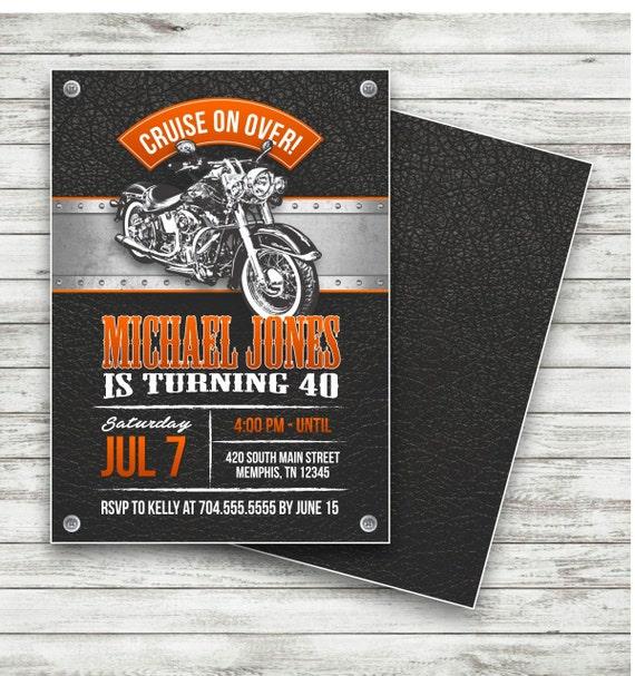 Motorrad Biker-Geburtstags-Einladung Geburtstag Oldtimer