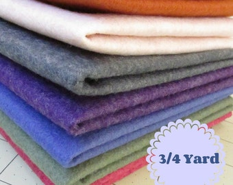 3/4 Yard Merino Wool blend Felt 35% Wool - Cut to order - You Choose Color