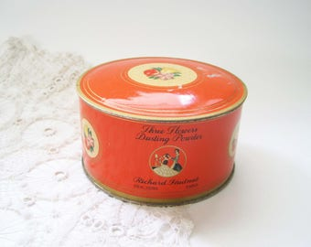 Vintage Art Deco Face Powder Tin, Richard Hudnut, Three Flowers, Dusting Powder,  Powder Box, Orange Tin, Vanity, Storage, Bathroom Decor