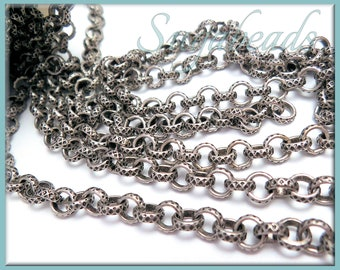Etched Antiqued Silver Rolo Chain, Chain by the foot, Rolo Chain, Silver Brass Chain, Silver Rolo Chain, Cross Hatch Rolo Chain, SBC2