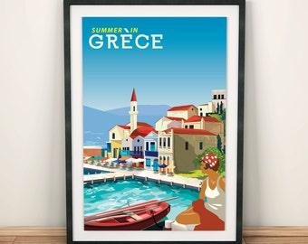 Greece Mediterranean Summer   Travel Poster   Unframed