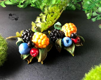 Earrings with berries, Berry Jewelry, Cloudberry jewelry, Summer berry Earrings, Blueberry Earrings, Cranberry earrings, Blueberry jewelry