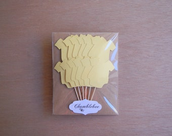 CLEARANCE. Yellow Baby Bodysuit Cupcake Toppers.
