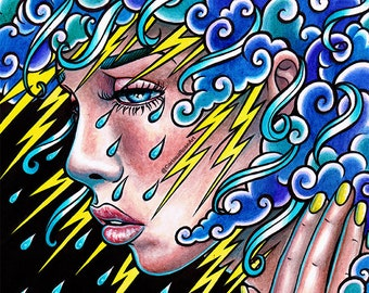 ORIGINAL 8x10 in. Painting - Sad Girl Portrait - Crying with Lightning Clouds and Rain - Thinking of You Illustration