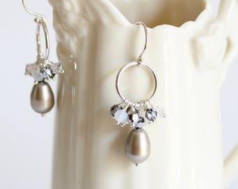 Pearl Dangle Sterling Silver Hoop Earrings, Grey, Sterling Silver Hoop Earrings, Pearl Drop Earrings, Pearl Crystal Cluster, Bridesmaid Gift