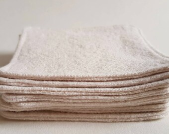 Organic Unbleached Flannel, pack of 8, Mini Cleansing Wipes, Ecofriendly