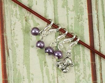 Knitting/Progress Marker Set of 5 Purple with Teddy Bear Charm