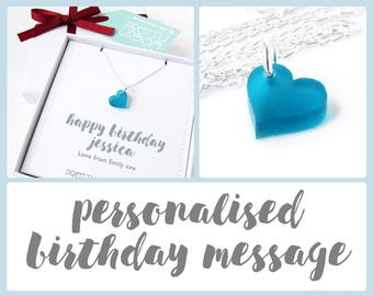 Birthday Gift For Women – Turquoise Heart Necklace – Personalised Birthday Gift – Heart Pendant Necklace – Personalised Jewellery – Acrylic