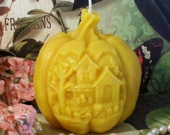 Beeswax Haunted House Pumpkin Candle