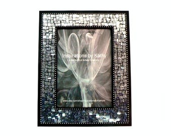 5x7 Picture Frame  - Mosaic Picture Frame -Black Ombre Frame - Silver Ombre Frame - Charcoal Gray Frame - Glitter Glass Picture Frame